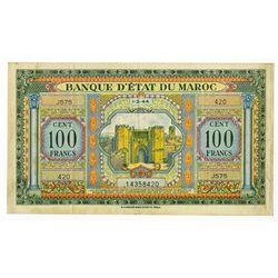 Banque d'Etat du Maroc. 1944. Issued Note.
