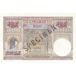 Banque d'Etat du Maroc. 1949. Specimen Banknote.