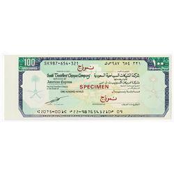 Saudi Traveler's Cheque Company. Circa 1960's. Specimen Check.