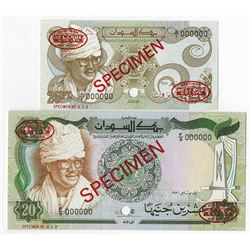 Bank of Sudan. 1981. Pair of Specimen Notes.