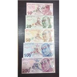 Central Bank of Turkey. ND (2009). Quintet of Specimen Banknotes.