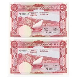 South Arabian Currency Authority. ND (1965). Sequential Pair of Issued Banknotes.