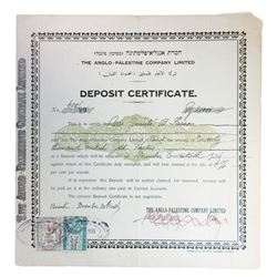 Anglo-Palestine Co. Ltd. Deposit Certificate, 1925