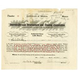 Americo-Persian Development and Trading Corp. 1926. Issued Stock Certificate.
