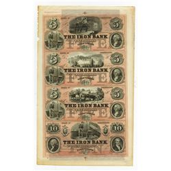 Iron Bank, 1850-60's Uncut Full Color Remainder Sheet of 4 Notes.