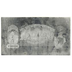 City Council of Brunswick. MD (1860's). Obsolete $3 Printing Plate + Matching Proof.