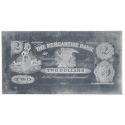 Mercantile Bank. ND (ca. 1860's). Obsolete $2 Printing Plate + Matching Proof.
