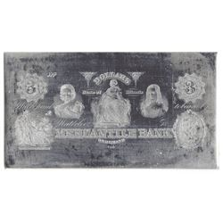 Mercantile Bank. ND (ca. 1860's). Obsolete $3 Printing Plate + Matching Proof.