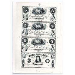Bridgeton, NJ. Cumberland Bank Proprietary Reprint ca.1970's) Uncut Sheet of 4 Proof Obsolete Bankno