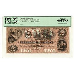 Freehold Banking Co., 18xx (ca.1850's), High Grade Proof Banknote.