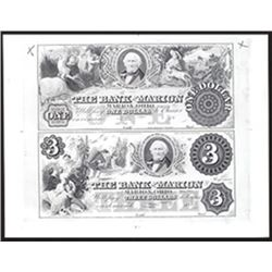 Bank of Marion 1850-1860s (1960-70's ABN Reprint) Uncut Proprietary Proof Sheet.