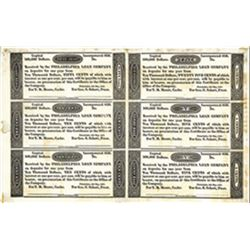 Philadelphia Loan Company, Financial Panic of 1837 Uncut Proof Sheet of 6 Notes by UBS&H.