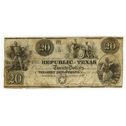 Republic of Texas, 1840, $20 Obsolete Banknote.