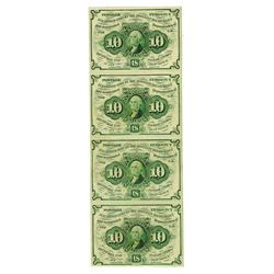 U.S. Fractional Currency, 1st Issue 10 cents Fr#1242, Uncut Vertical Strip of 4 Notes