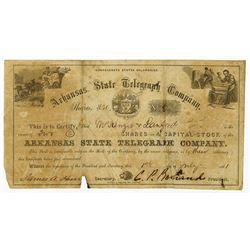 Confederate States of America, Arkansas State Telegraph Co., 1861 Issued Stock Certificate