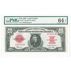 U.S. Legal Tender, Fr. 123 $10 Series of 1923 Legal Tender, PMG Choice Uncirculated 64 EPQ.