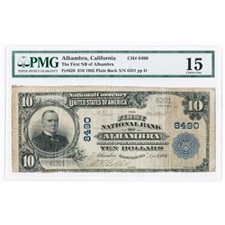 Alhambra, CA. First National Bank of Alhambra, $10, 1902 PB Ch#8490, Fr#626.