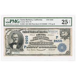 Santa Barbara, CA. County National Bank and Trust Company of Santa Barbara, $50, 1902 PB Ch#2456 P,