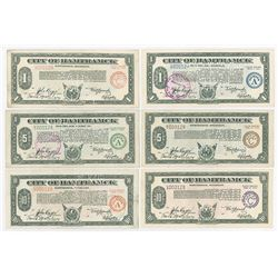 MI. City of Hamtramck, 1933-1934 Depression Scrip Sextet, All with Lot Serial Number 128.
