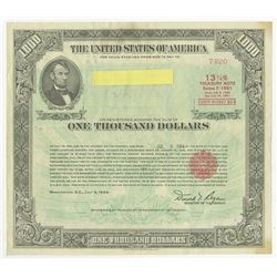U.S. $1000 Treasury Note, 1984, 13 3/4% Series F-1991 Registered Bond.