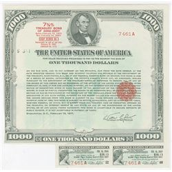 U.S. Treasury $1,000.00 7 5/8ths % Bond of 2002-2007 ( issued Feb. 15, 1977) SN # 7461A.