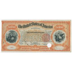 United States of America. Act of June 13, 1898-Three Percent Loan of 1898. $5000 3% Registered Bond.