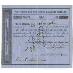 Lucy Stone Autograph on 1855 Providence & Worcester Railroad Co. Stock Certificate.