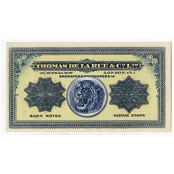 Thomas De La Rue & Co., Ltd. Ca.1890-1910 Advertising Note.