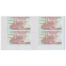 """Dura Note 100"" Polymer Material Advertising Banknote Block of 4."