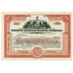 Briggs Manufacturing Company - Automobile Bodies., ca.1910-1920 Specimen Stock Certificate