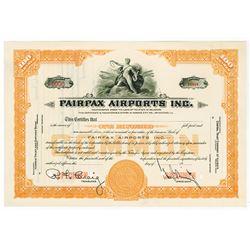 Fairfax Airports Inc., 1931 Specimen Stock Certificate