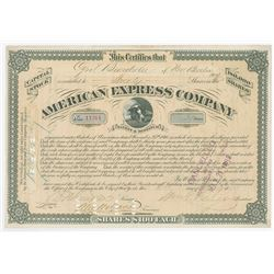 American Express Co., 1873 Stock Certificate Signed by William Fargo as President.