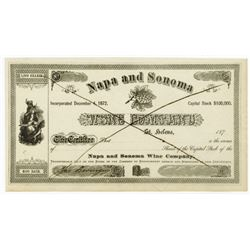 Napa and Sonoma Wine Co., ca.1870 Stock Certificate with Jacob Berringer Signature.