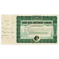 Harry Davis Amusement Co., 1907 Specimen Stock Certificate