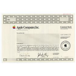 Apple Computer, Inc., 1988 Specimen Stock Certificate