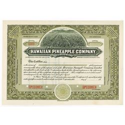 Hawaiian Pineapple Co. Ltd., ca.1900-1910 Specimen Stock Certificate