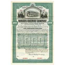 Manaos Railway Co. 1898 Specimen Bond.
