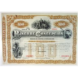 Chile. Banco De Concepcion 1880's Specimen 100 Pesos Bill of Credit VF ABN Rare