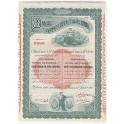 Banco Espanol de la Isla de Cuba 1910 Specimen Stock/Bond