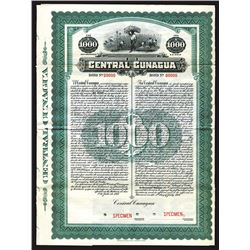 Central Cunagua, 1917 Cuba Sugar Plantation and Mill Specimen Bond.