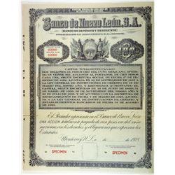 Banco De Nuevo Leon, S.A., 1928 Specimen Bond.