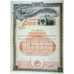 Banco Internacional e Hipotecario De Mexico, 1896 Specimen Bond.