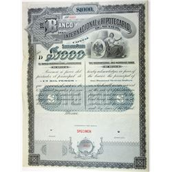Banco Internacional e Hipotecario De Mexico, ca.1890-1900 Specimen Bond.