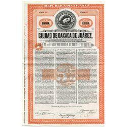 Ciudad de Oaxaca de Juarez, 1910 Issued & Uncancelled Bond.