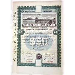 Compania Industrial de el Oro, 1907 Specimen Stock Certificate