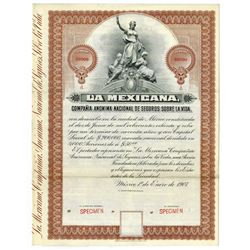La Mexicana Compa–'a An—nima Nacional de Seguros Sobre La Vida, 1907 Specimen Bond
