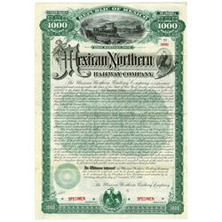 Mexican Northern Railway Co. 1890 Specimen Bond.