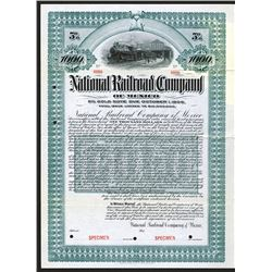 National Railroad Co. of Mexico 1903 Specimen Bond.