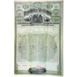 Republica Mexicana - Bono De La Deuda Consolidada Exterior Mexicana, 1890 Specimen Bond.