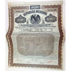 Republica Mexicana - Bono De La Deuda Consolidada Exterior Mexicana, 1899 Specimen Bond